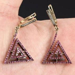 Ruby& topaz pyramid earrings
